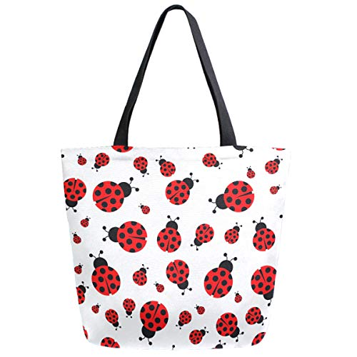 - ZzWwR Fresh Ladybug Pattern Extra Large Canvas Beach Travel Reusable Grocery Shopping Tote Bag Market Portable Storage HandBags