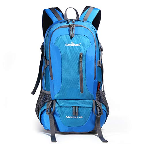 DAVIDNILE Hiking Backpack 45L Waterproof Outdoor Daypack Internal Frame Backpacks for Men and Women Lightweight Backpacks for Travel Camping Climbing (DV2001-Blue)