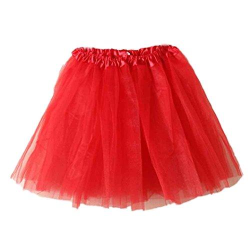 YUYOUG Jupe Femme, Ballet Tutu en Tulle Jupe Courte Style annes 50 pour Femmes Red