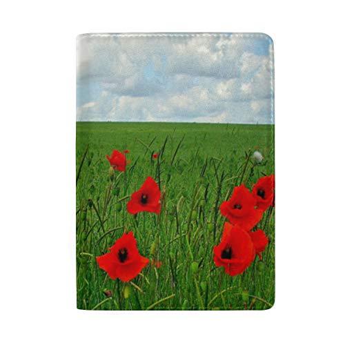 Passport Holder Poppy Flowers Amazing Passport Cover Case Wallet Card Storage Organizer for Men Women Kids