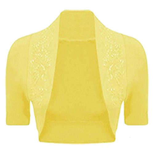 R KON Women's Beaded Cap Sleeve Shrugs Sequin Bolero Short Crop Cardigan Top Yellow ML (Cover Sweater)