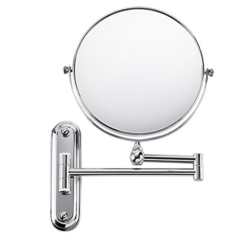 BTSKY Trade Chrome Finish,360 Degree, 12-Inch Extension, 8-inch Two-Sided Swivel Wall Mounted Mirror, Extending Folding Bathroom Shaving Cosmetic Make Up Mirror 10 x Magnification