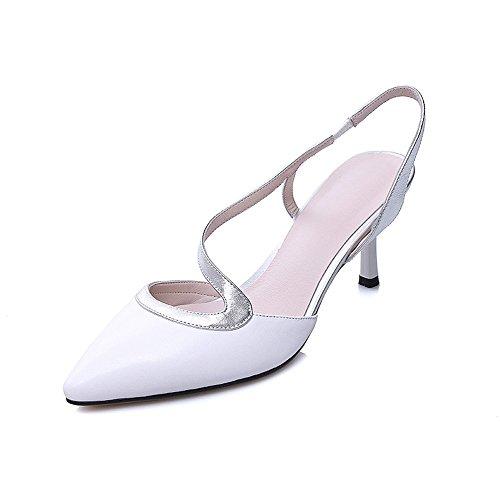 Nine Seven Cuero Moda Puntiagudos Sandalias de Tacón Aguja de Vestir para Mujer blanco