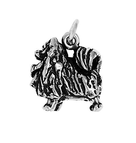 (Raposa Elegance Sterling Silver 3D Pomeranian Charm (approximately 13.5 mm x 13 mm))