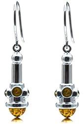 Multicolor Amber Sterling Silver Elegant Designer Modern Earrings