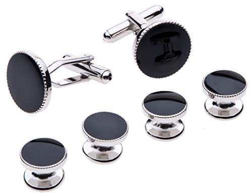 Cufflinks and Studs Set for Tuxedo - Formal Black with Shiny Silver Trimming by Velette ()