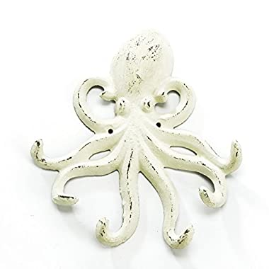 Distressed White Iron Octopus Coat Hook