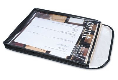 16'' x 19'' x 1'' Gusseted Vinyl Job Ticket Holders with Black Stitched Edges (13 Gauge) (25 Jackets) - AB-99-10-14B