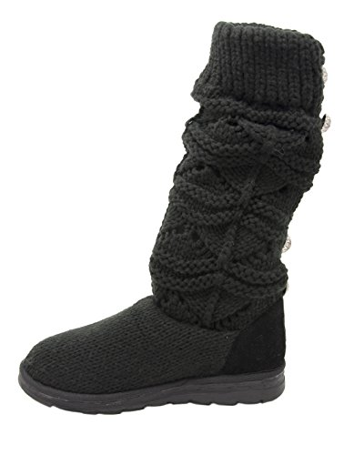 MUK LUKS Women's Jamie Crochette Winter Boot Black