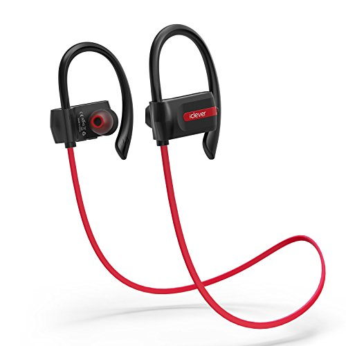 iClever Bluetooth Headphones, Sport Wireless Earphones with Built-in Mic, Noise Cancelling, Nano-coating Waterproof, 7-Hour Playtime, Wireless Earbuds for Gym Workout Running – Red