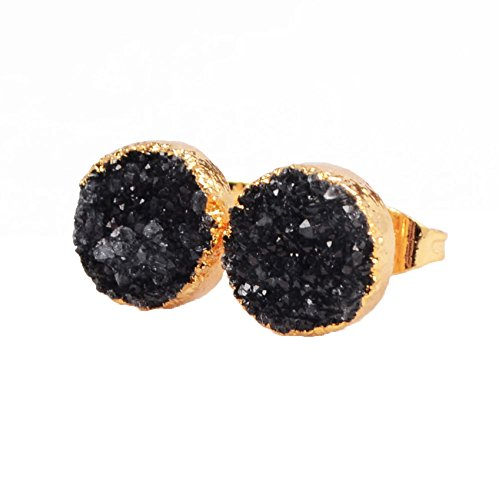ZENGORI 10mm Round Gold Plated Natural Agate Druzy Stud Earrings #G0431 (18k Agate Earrings)