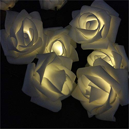 BGFHDSD Solar LED Wedding Party Rose String Lights 4.8M-12M Warm White Blue Multicolor Options Creative Design for Holiday Decor. Warm White 10m 60roses by BGFHDSD (Image #1)