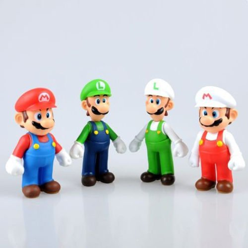 "Zalpalza 4Pcs Lot Toys Super Mario Bros Mario And Luigi Figure PVC Action Toy 5"" inch"
