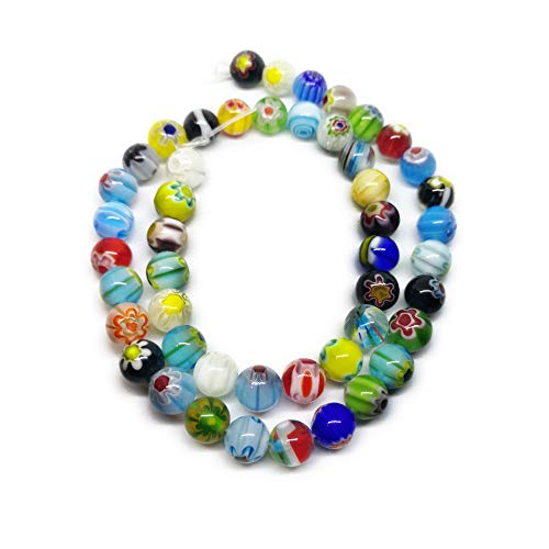 Millefiori Glass 8mm - Millefiori Beads RAINBOW GLASS BEADS MIX 8mm 140 Beads 100 Grams