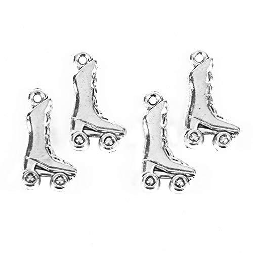 Pomeat 100 Pcs Antique Silver Roller Skates Shoe Charm Pendant for Bracelets Jewelry Making]()