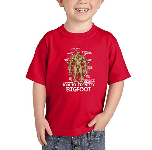 (How to Identify Bigfoot - Sasquatch Myth Infant/Toddler Cotton Jersey T-Shirt (Red, 5T))