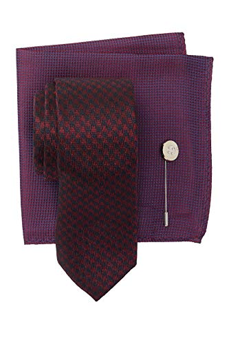 Ben Sherman Silk Maxwell Houndstooth Tie, Pocket Square, Lapel Pin Set