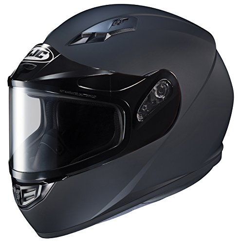 HJC Helmets CS-R3SN Unisex-Adult Full Face Snow Helmet with Framed Dual Lens Shield (Matte Black, Large) (Snowmobile Helmet)