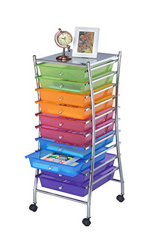 finnhomy 10 drawer rolling storage cart utility mobile organizer with drawers for office home. Black Bedroom Furniture Sets. Home Design Ideas