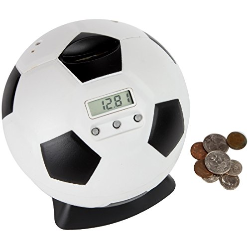 Dime Quarter Nickel Penny - Lily's Home Kid's Money Counting Soccer Ball Digital Coin Bank, Counts U.S. Pennies, Nickels, Dimes, Quarters, Half Dollars, and Dollar Coins, Ideal for Personal Savings, Learning or Play