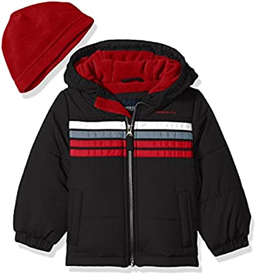 London Fog Toddler Boys Black /& Red Coat With Fleece Beenie Size 2T 3T 4T