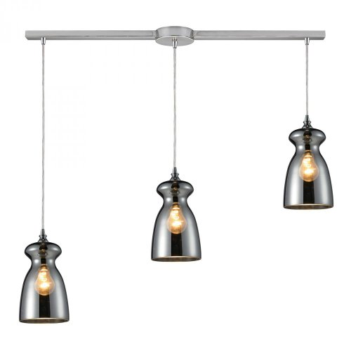 Elk 60063-3L Menlow Park 3-Light Pendant with Glass Shade, 36 by 11-Inch, Polished Chrome Finish