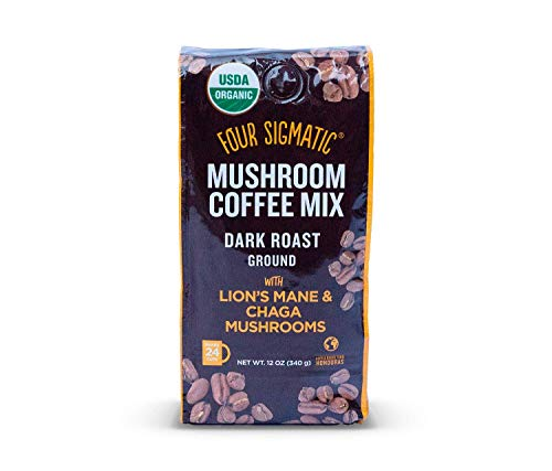 Mushroom Ground Coffee - USDA Organic and Fair Trade Coffee with Lions Mane and Mushroom Powder - Focus, Wellness - Vegan, Paleo - 12 Oz - Dark -