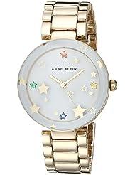 Anne Klein Womens AK/3218WTGB Swarovski Crystal Accented Gold-Tone Bracelet Watch