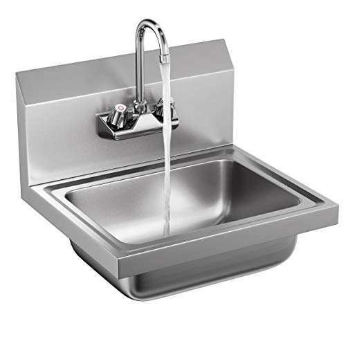 (Giantex Stainless Steel Hand Wash Sink NSF Certificated Wall Mount Commercial Kitchen Heavy Duty with Faucet)