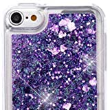 MYTURTLE Shockproof Hybrid Case Hard Silicone Shell High Impact Cover with Stylus Pen and Screen Protector for iPod Touch 5th 6th Generation, Quicksand Purple Hearts Glitter
