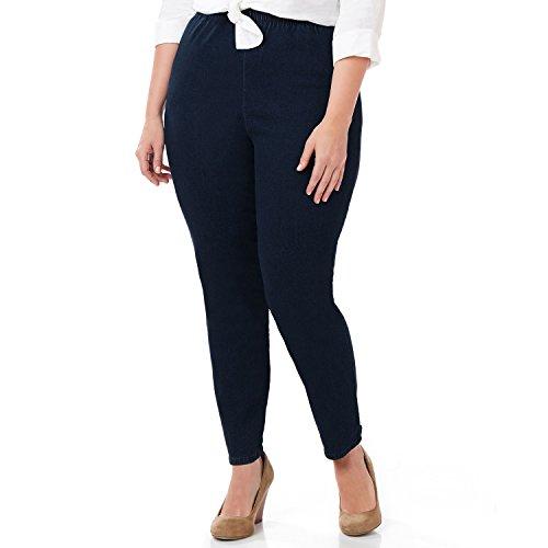 Easy Fit Elastic - Symbidium Women's Plus-Size Easy Fit Elastic Waist Pull-on Essential Comfortable Jean Dark Wash 0X