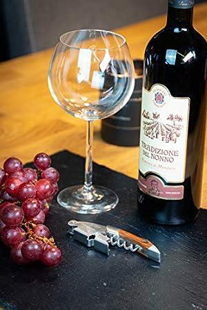 Luuva Abridor de vino, cuchillo de camarero, sacacorchos de madera de acero inoxidable resistente con cortador de láminas, abrebotellas para casa o gastronomía