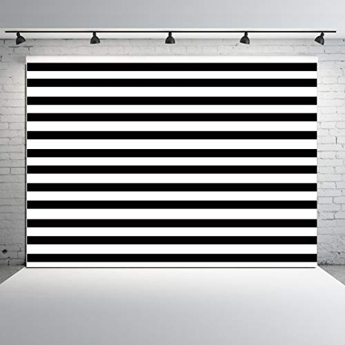 CYLYH 7x5ft Geometric Black and White Stripe Zebra Crossing line Banner Birthday Party Wedding Decoration Photo Studio Booth Newborn Baby Shower Background D174 -