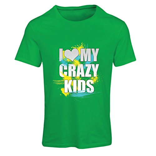 lepni.me T Shirts For Women I Love My Crazy Kids - Unusual Family Gift Ideas (X-Large Green Multi Color) (Jock Hams)