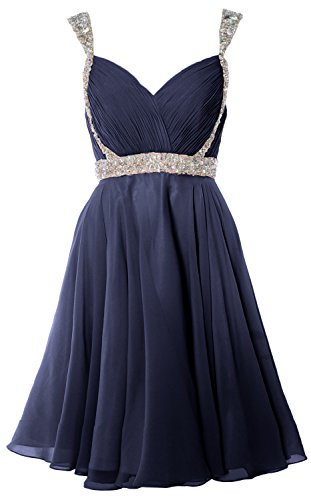 Prom Wedding Formal Homecoming MACloth Gorgeous Dress Short Party Straps Dunkelmarine Gown qwtxZ
