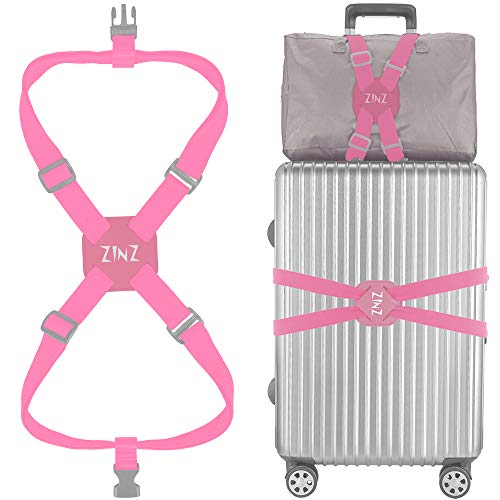 Luggage Strap, ZINZ High Elastic Suitcase Adjustable Belt Bag Bungees With Buckles And More Applications (Pink ()