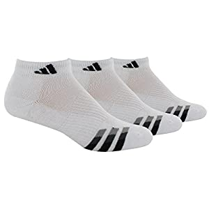 adidas Men's Cushioned Low Cut Socks (3 Pack),White/Black,X-Large