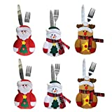 table decorations for christmas Tinksky 6pcs Kitchen Suit Silverware Holders Pockets Knifes Forks Bag Snowman Santa Claus Elk Christmas Party Decoration Christmas Birthday Gift for Children