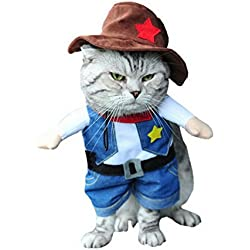 SMALLLEE_LUCKY_STORE Funny Cat Halloween Costume Dog Cowboy Costume with Hat Pet Outfits Puppy Holiday Clothes Size S
