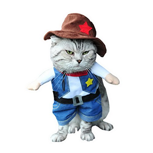 (SMALLLEE_LUCKY_STORE Funny Cat Halloween Costume Dog Cowboy Costume with Hat Pet Outfits Puppy Holiday Clothes Size)