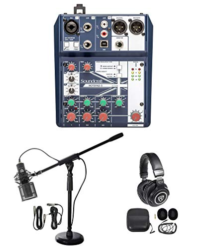 Gaming Twitch Stream Recording Bundle Soundcraft Mixer+Headphones+Pro Mic+Stand
