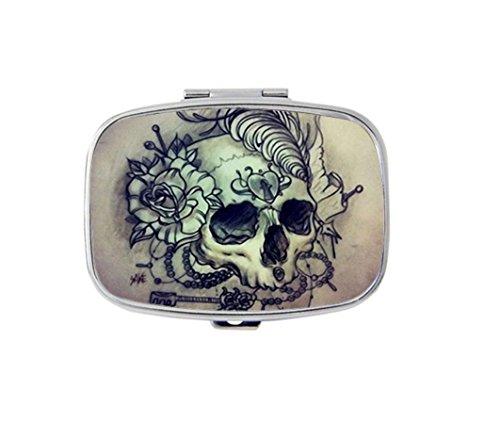 Skull Tattoo Custom Silver Stylish, slim design Pill Box Holder,rectangle Medicine Vitamin Organizer Pill case