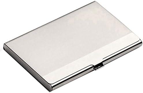 CUHAWUDBA Geschaeft Name Kartenhalter Metall Edelstahl Gehaeuse (Silber, 9,2 * 6CM)