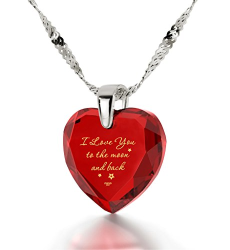 925 Sterling Silver Heart Necklace I Love You to The Moon and Back Pendant 24k Gold Inscribed Red CZ, 18'' by Nano Jewelry (Image #7)