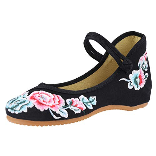 CINAK Floral Embroidered Shoes for Women- Comfortable Loafer Black Casual Round Toe Ballet Flats Shoes(8.5 B(M) US/UK6.5/EU40/CN41/25.5CM,Black) (Shoe Women Embroidered Flat)