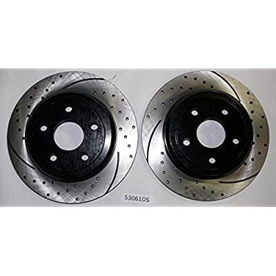 Approved Performance C4089 Front & Rear Performance Drilled and Slotted Brake Rotors with Ceramic Brake Pads 330 MM Front Rotors and Solid Rear Rotors Will Not Fit SRT8: Automotive