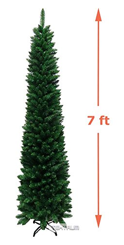 Tektrum 7-Feet Artificial Christmas Fir Pencil Tree with Tapered Branch Tips, Solid Metal Stand for Christmas/Holiday/Party (TD-SYCT-1610D-17) (Christmas Slim Trees)