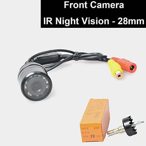 Car Auto Front View Camera IR Night Vision 28mm Hole Drilling Forward Non-Mirrorred Image Without Grid Lines Normal Unreversed Blind Spot Display Flush (Night Vision Cameras Cars)