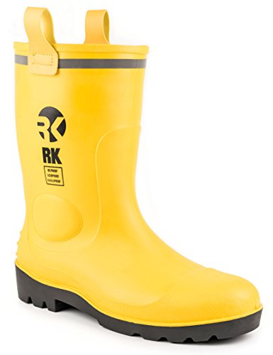RK Mens Waterproof Rubber Sole Rain Boots (12, Yellow) (Wellies Yellow)