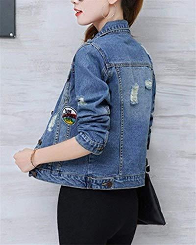 Fashion Manica Anteriori Donna Lunga Elegante Aspicture Giubotto Jeans Autunno Corto Giacche Moda Strappato Qualità Breasted Di Ragazza Tasche Single Alta Cappotto Giacca Bavero Casual OqUy44